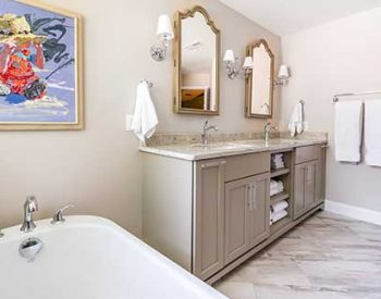 Bathroom remodel by Blue Heron Construction